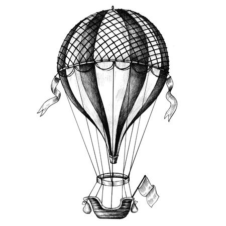 Heißluftballon Vintage-Stil Illustration Standard-Bild - 99962748