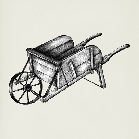 Hand drawn wooden cart isolated on background
