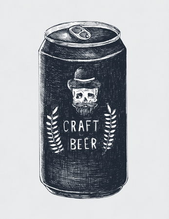 Hand-drawn craft beer can