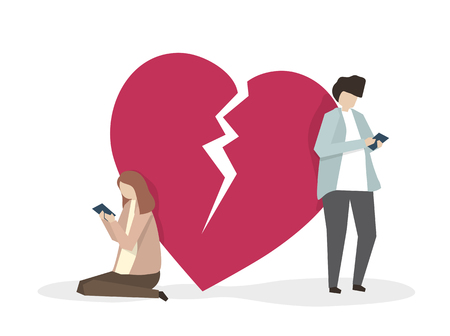 Illustration of two heartbroken people Stock Photo