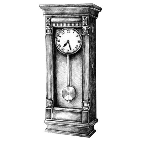 Handgezeichnete Longcase Uhr Retro-Stil Standard-Bild - 99962770