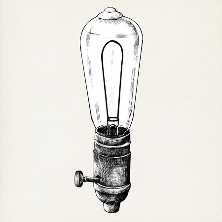 Hand drawn lighbulb isolated on background