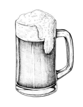 Hand drawn beer alcoholic drink