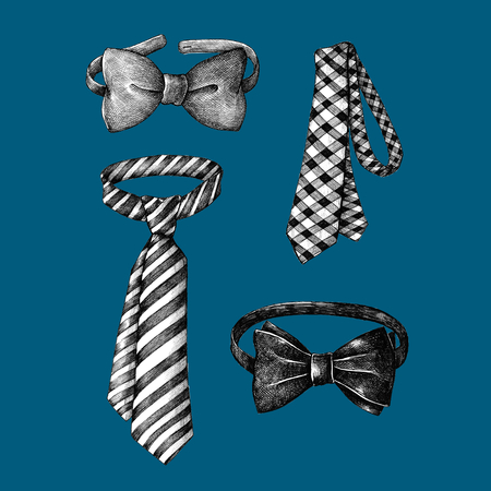 Hand drawn bow and necktie