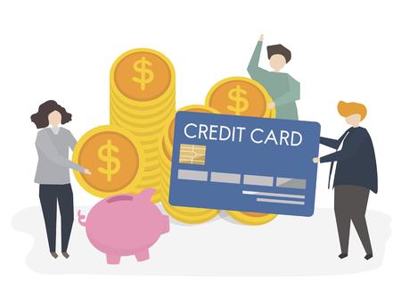 クレジットカードとお金を持つ人々のイラスト 写真素材