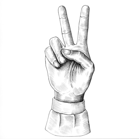Hand drawn v sign isolated on background Stock Photo