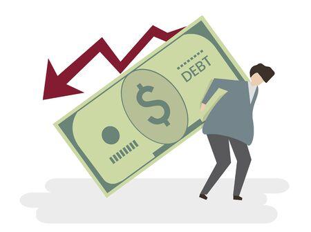 Illustration of a man in debt 写真素材