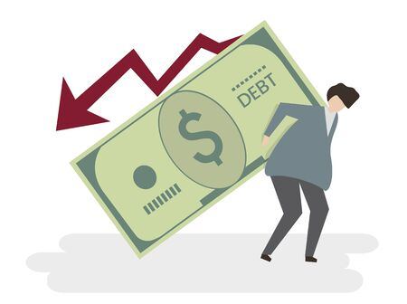 Illustration of a man in debt Banco de Imagens