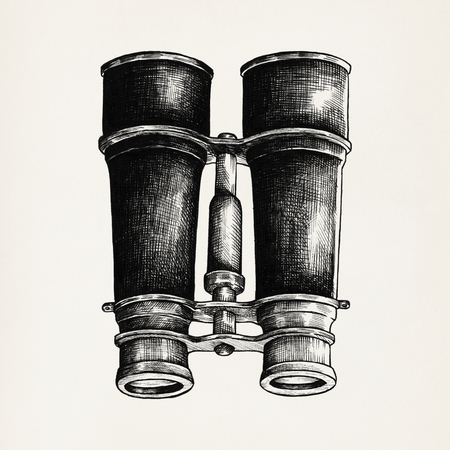 Hand drawn binoculars isolated on background 版權商用圖片