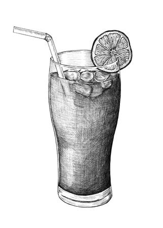 Hand-drawn lemon iced tea 写真素材