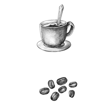 Hand drawm coffee and coffee bean isolated on background