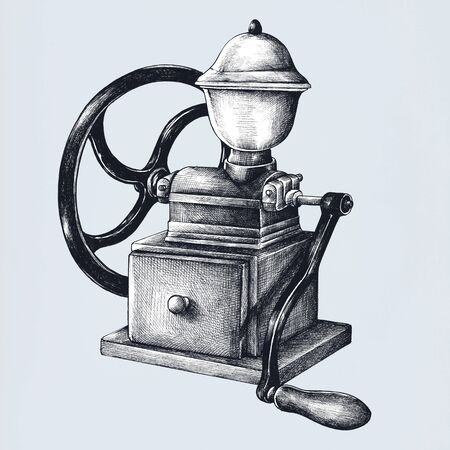 Coffee grinder vintage style illustration