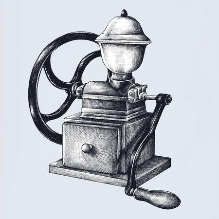 Illustration de style vintage de moulin à café