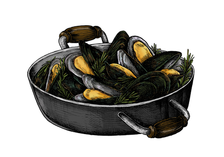 Hand drawn cooked mussels Stock Photo - 99963076