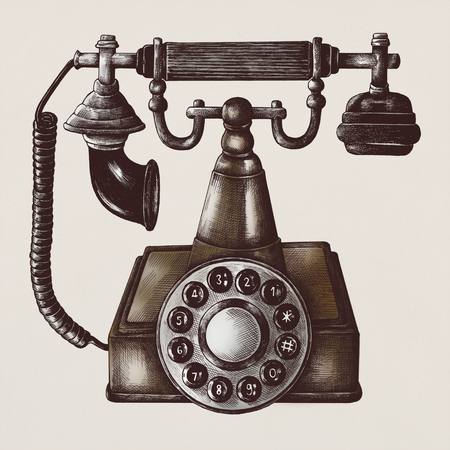 Illustration of retro telephone