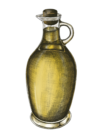 Hand drawn pitcher of olive oil Reklamní fotografie