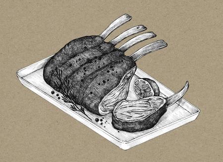 Hand-drawn rack of lamb