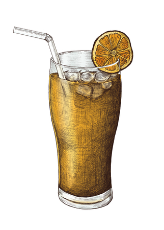 Hand-drawn lemon iced tea 写真素材