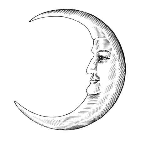 Hand drawn moon with face Imagens