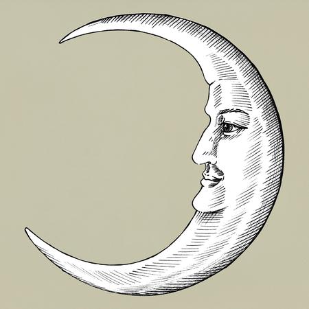 Hand gezeichneter Mond mit Gesicht Standard-Bild - 99963540
