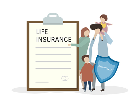 Illustartion of people with life insurance