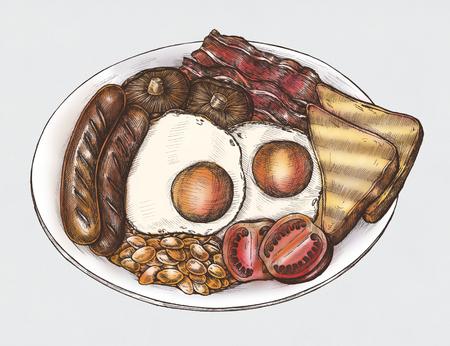 Hand-drawn American breakfast set