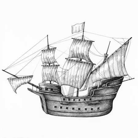 Hand drawn sailboat isolated on background 스톡 콘텐츠