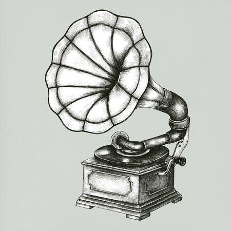 Old Gramophone vintage style illustration Stockfoto - 99963545