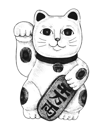 Hand drawn maneki neko figurine Фото со стока