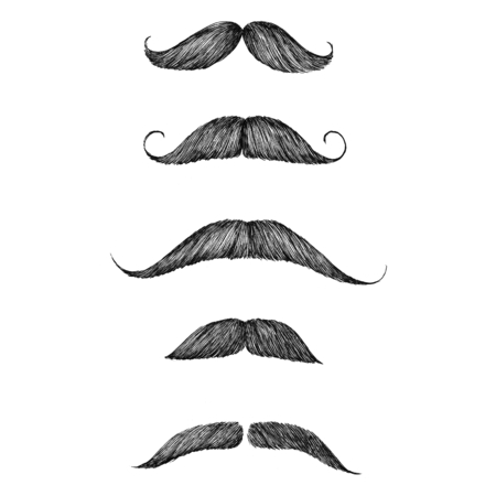Hand drawn moustache isolated on background