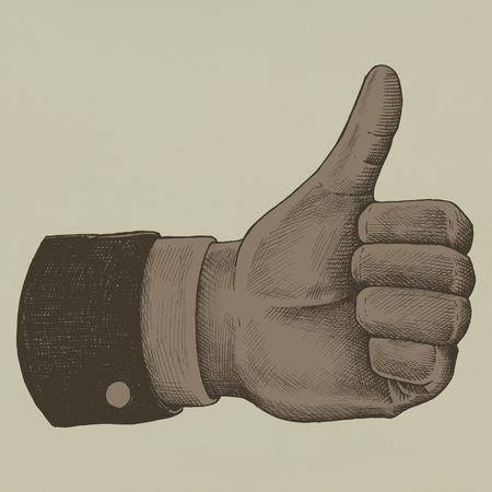 Hand drawn thumbs up hand
