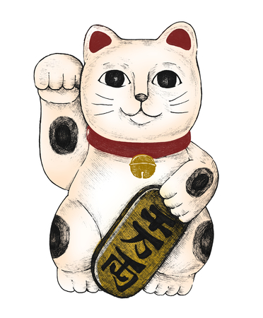 Hand drawn maneki neko figurine Banque d'images - 99963642