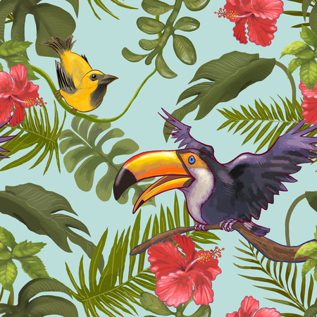 Illustration of tropical birds and plants Stock Photo