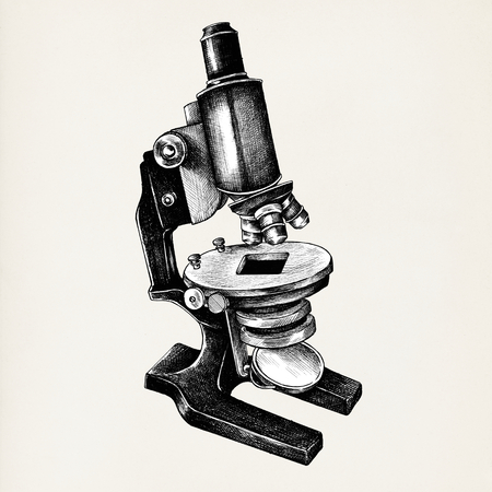 Hand drawn microscope isolated on background Banco de Imagens