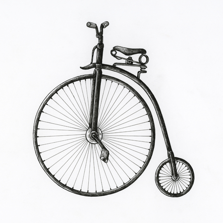 Hand drawn antique bike isolated on background Stock fotó