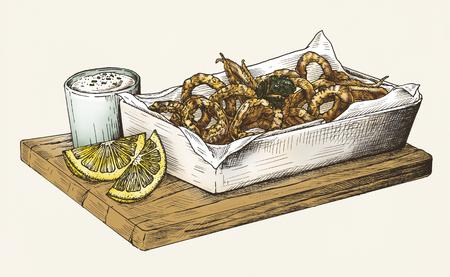Hand drawn calamari fried squid Reklamní fotografie - 99963693