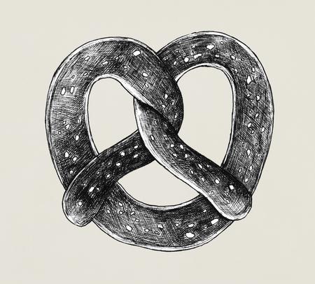 Hand-drawn twisted knot pretzel
