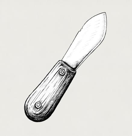 Hand drawn butter knife
