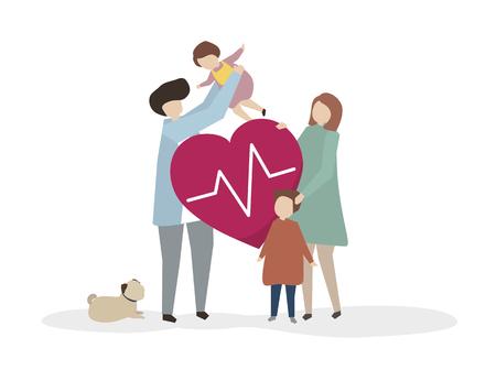 Illustration einer glücklichen gesunden Familie Standard-Bild - 99963705
