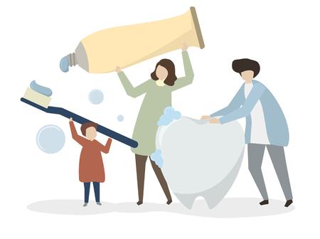 Illustration der Familie mit zahnärztlichen Kit Standard-Bild - 99963708