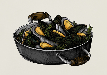 Hand drawn cooked mussels Stok Fotoğraf - 99963709
