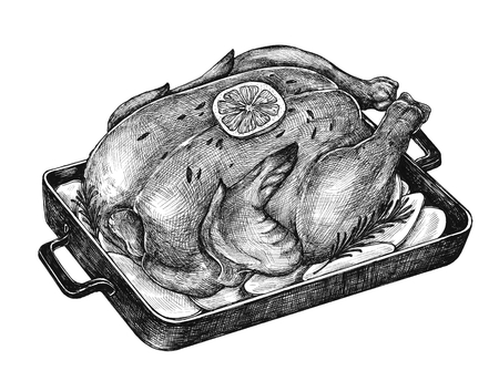 Illustration of roasted chicken