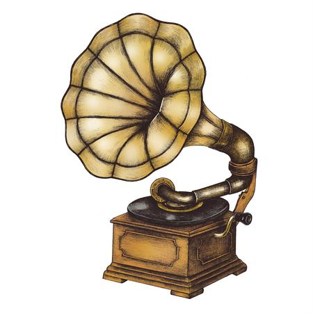 Old Gramophone vintage style illustration