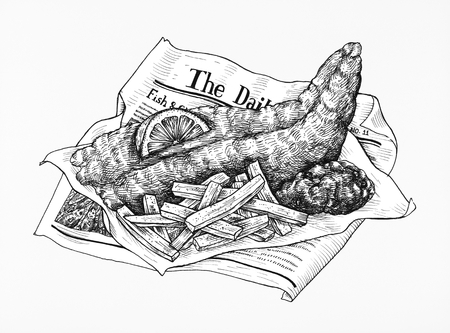 Illustration of fish and chips Stock fotó