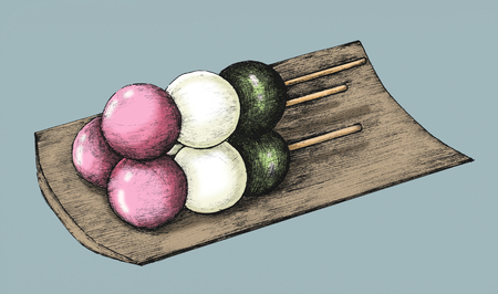 Hand drawn dango Japanese dumpling 版權商用圖片