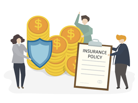 Illustration of people with insurance policy Foto de archivo - 99963785