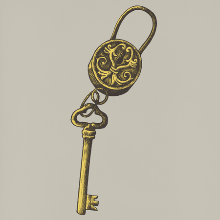 Hand drawn key isolated on background