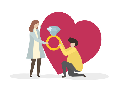 Illustration of a man proposing to a girl