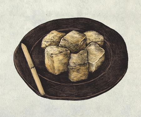 Hand drawn mochi Japanese rice cake Reklamní fotografie - 99963906