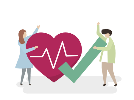 Illustration of people with a healthy heart Stok Fotoğraf - 99963911